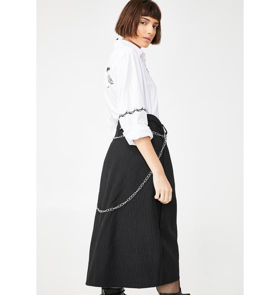 LOVE TOO TRUE Pin Stripe Wrap Midi Skirt
