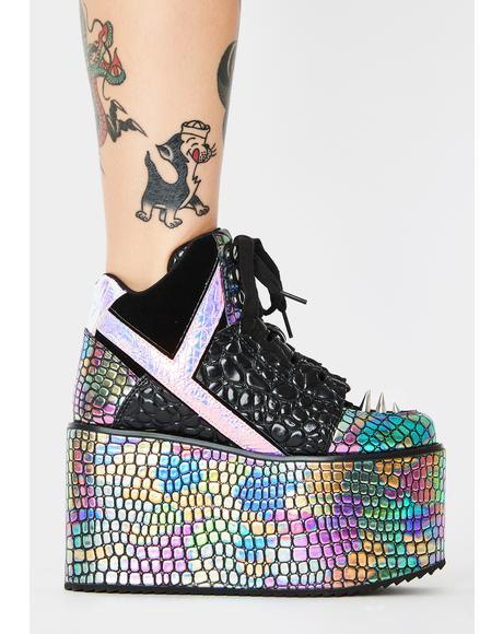 Qozmo Dragon Oil Slick Platform Sneakers