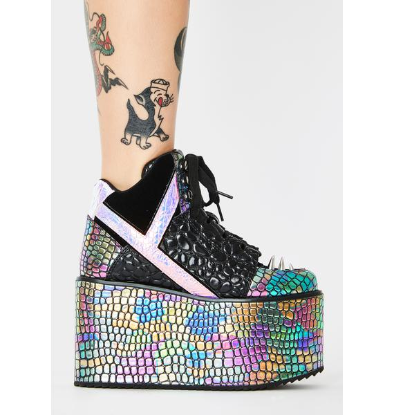 Y.R.U. Qozmo Dragon Oil Slick Platform Sneakers