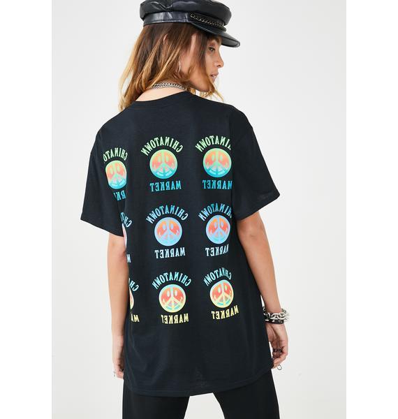 CHINATOWN MARKET Peace Smiley Gradient T-Shirt