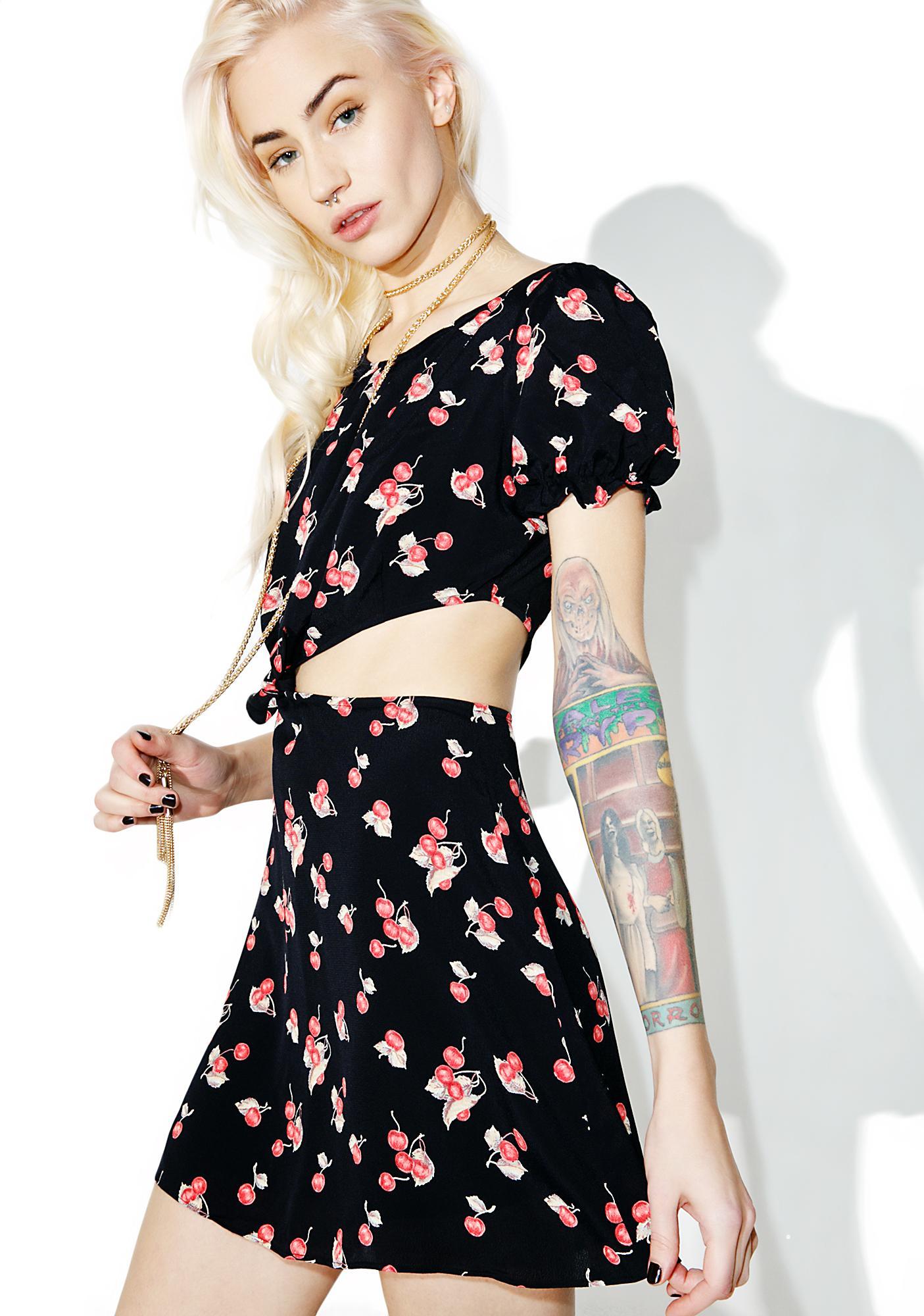 For Love & Lemons Cherry Waist Cut Out Dress