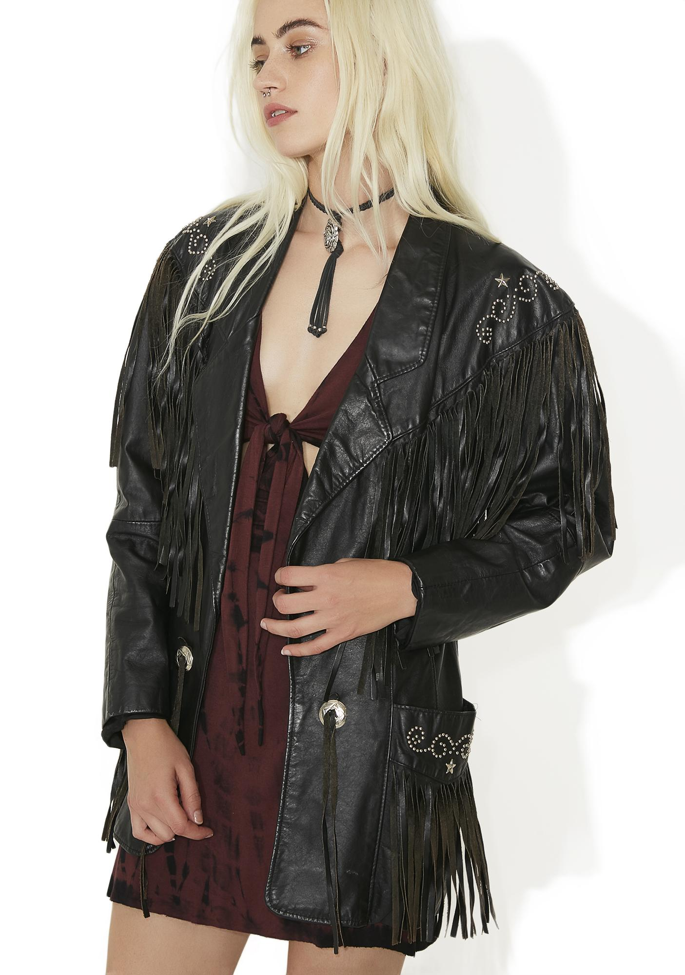 Vintage Leather Fringe Studded Jacket