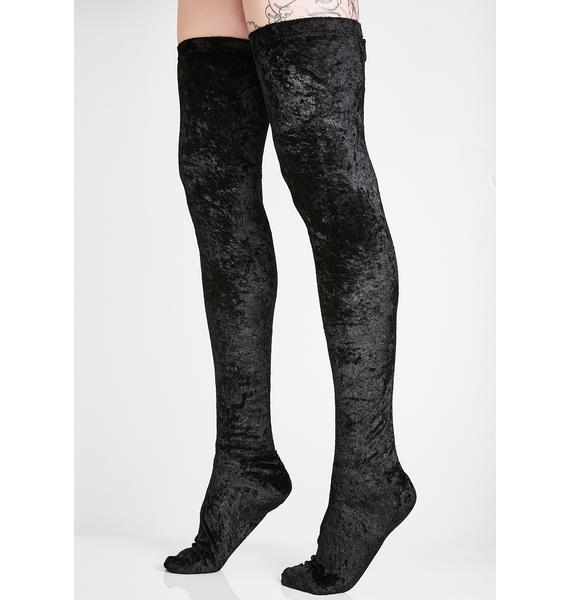 Crushed Step Thigh High Socks