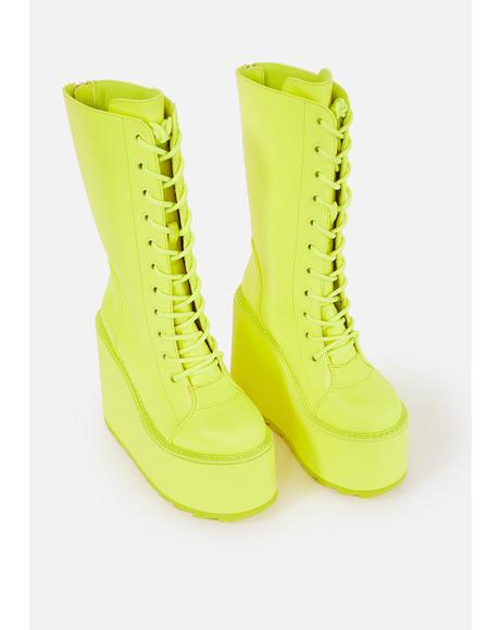 Neon Yellow Dune Lace Up Boots