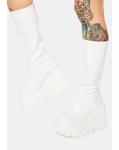 White Shook Up Platform Boots
