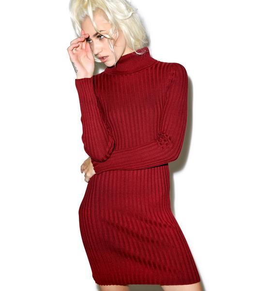 For Love & Lemons Everyday Knit Turtleneck Dress