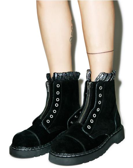 Iridescent Knit Collar Combat Boots