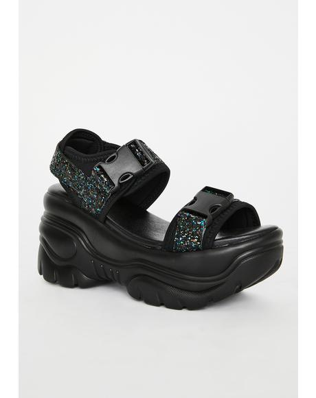 Black Oracle Platform Sandals