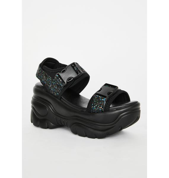 Y.R.U. Black Oracle Platform Sandals