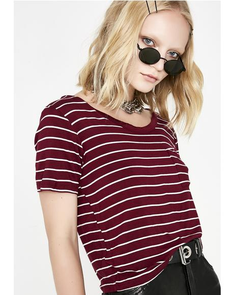 Wine Later Loser Stripe Top