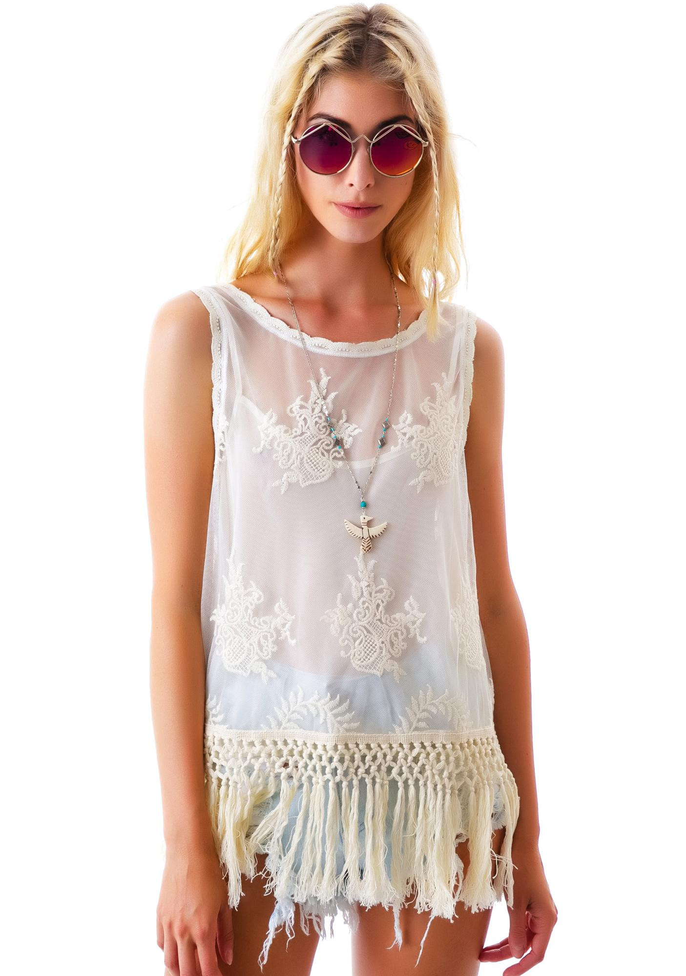 The Joan Fringe Mesh Top
