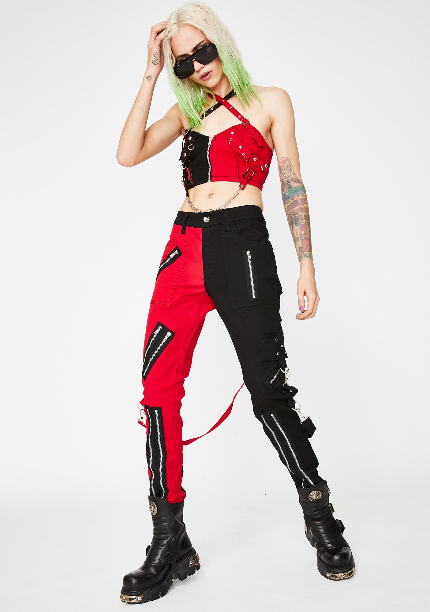 Tripp NYC Red Split Leg Bondage Pants