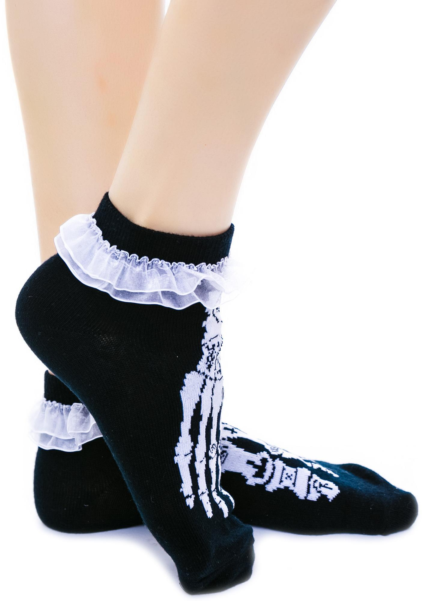 Too Fast Occult Bones Ruffle Ankle Socks