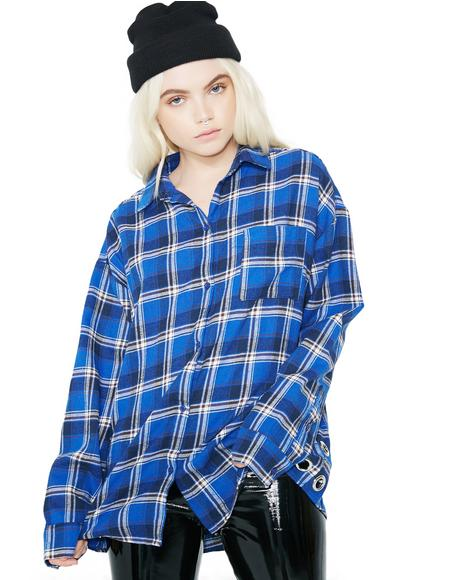Walk Alone Grommet Flannel Top
