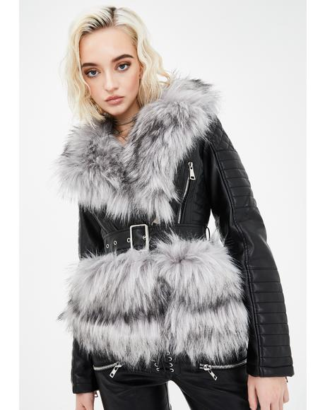 Never Cared Faux Fur Moto Jacket