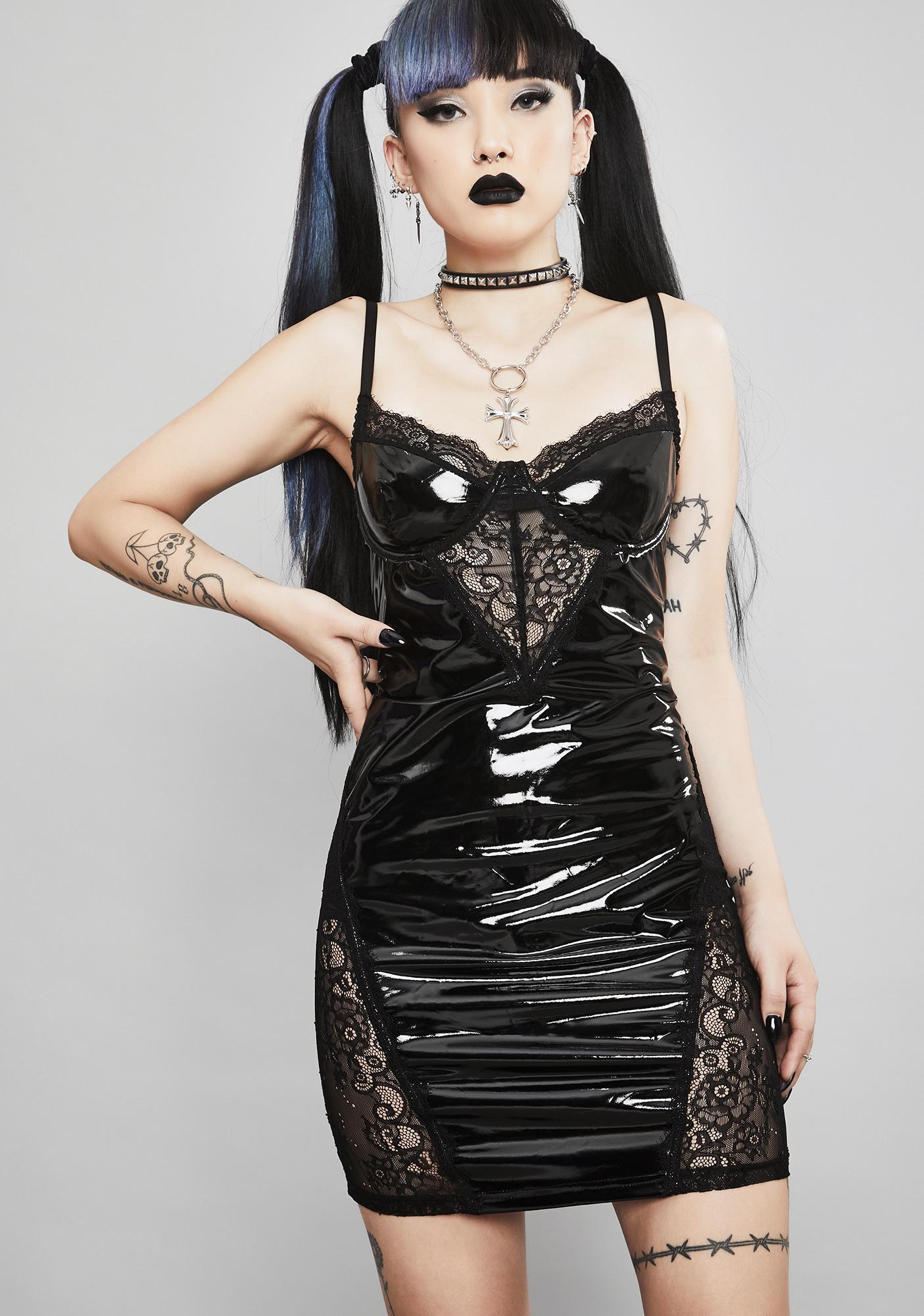 Widow Twisted Desire Vinyl Dress