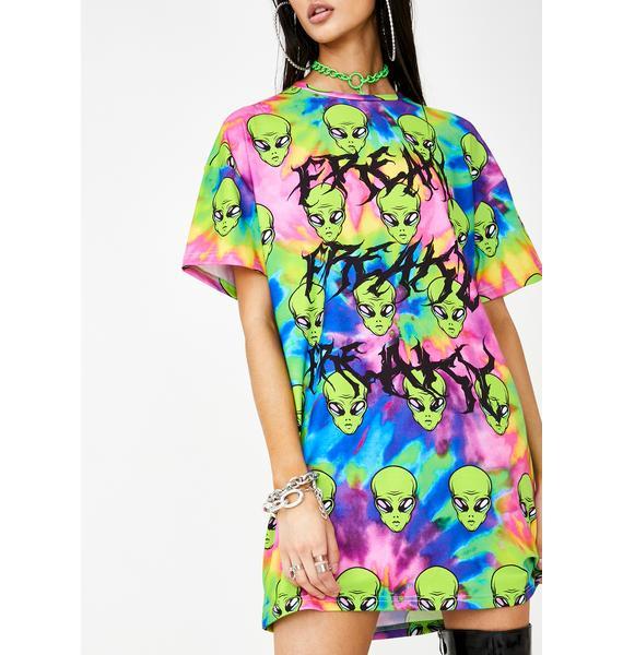 Jaded London Freaky Alien Tie Dye T-Shirt Dress