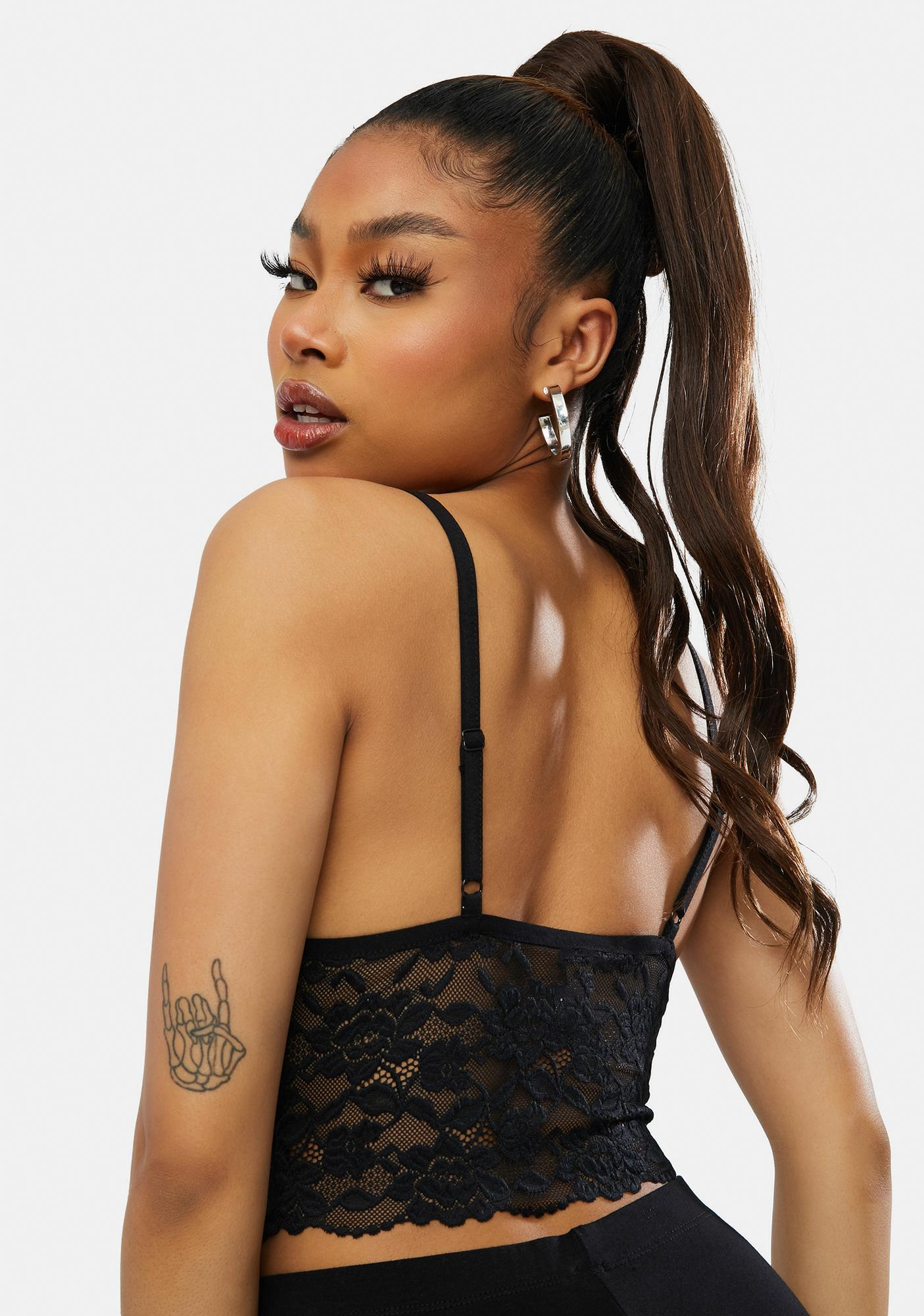Onyx Seeing Signs Lace Tank