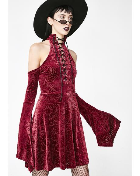 Wine Vela Burnout Velvet Dress