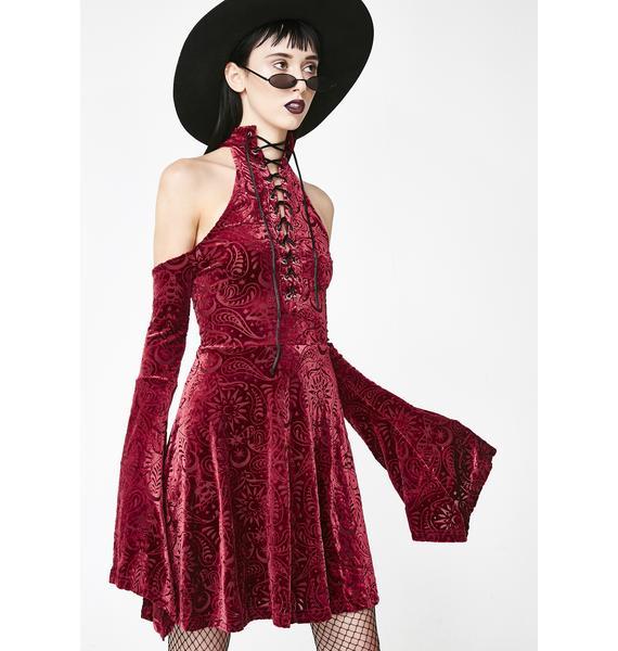 Killstar Wine Vela Burnout Velvet Dress