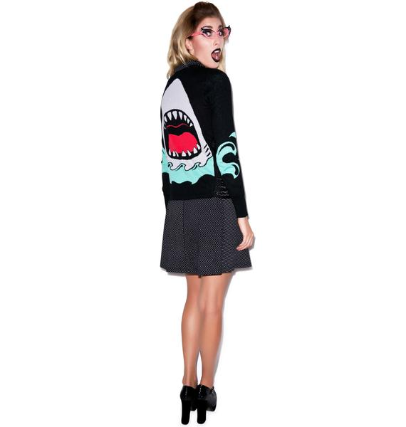 Too Fast Jaws Side Slashed Cardigan