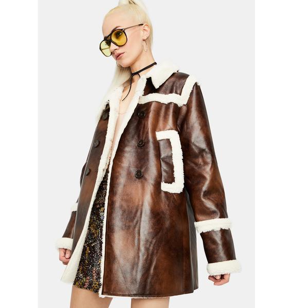 Glamorous Dark Brown Faux Shearling Coat