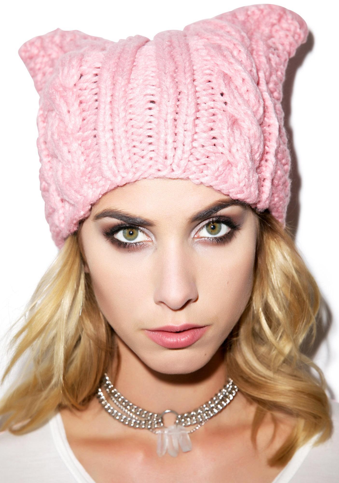 Cable Cat Knit Hat