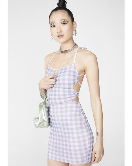 Tie Back Gingham Dress
