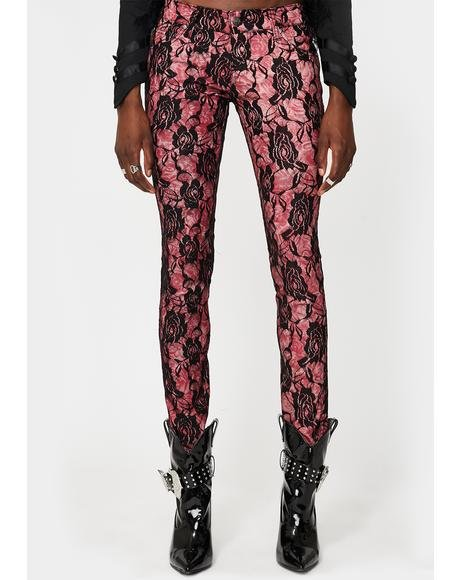 Rose Lace Skinny Jeans