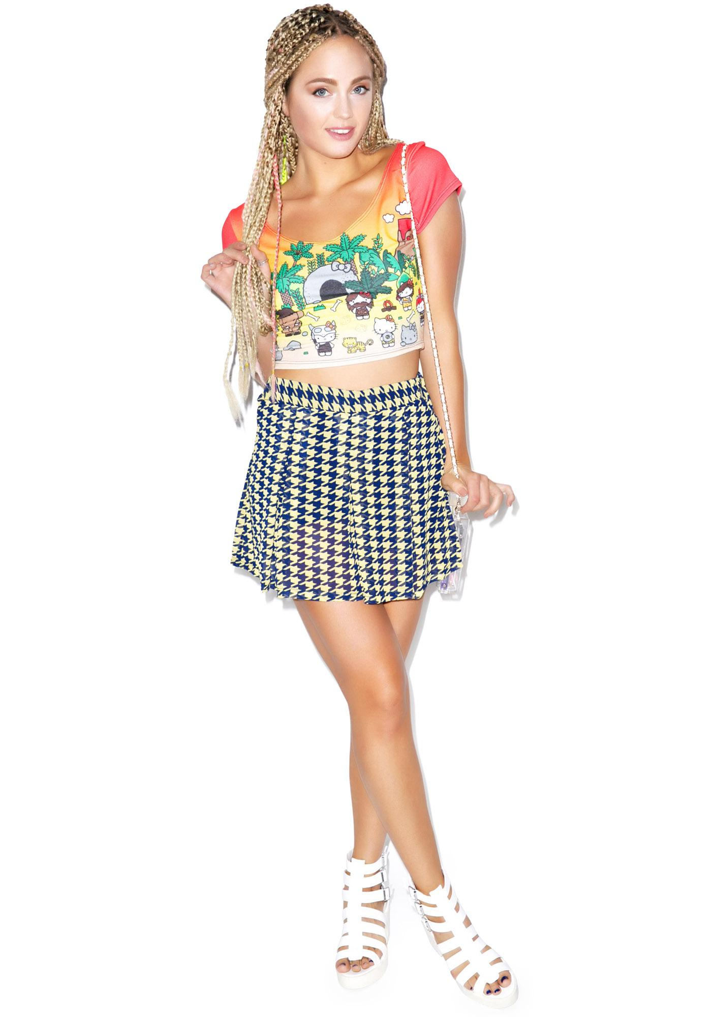 Japan L.A. Hello Kitty Caveman Short Sleeve Crop Top