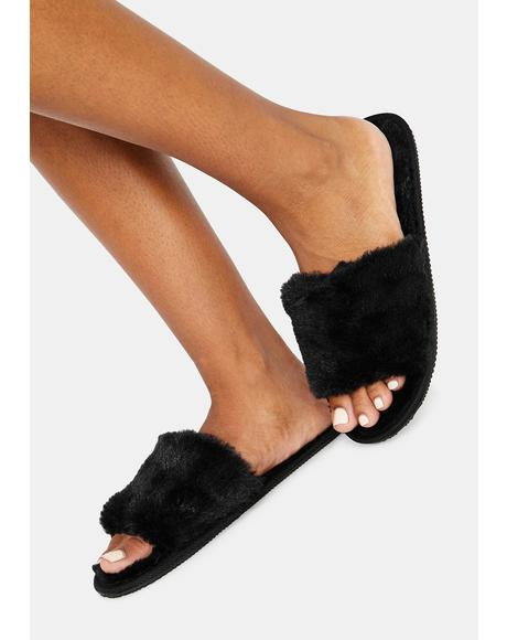 Night Fluff With Me Fuzzy Slipper Slides