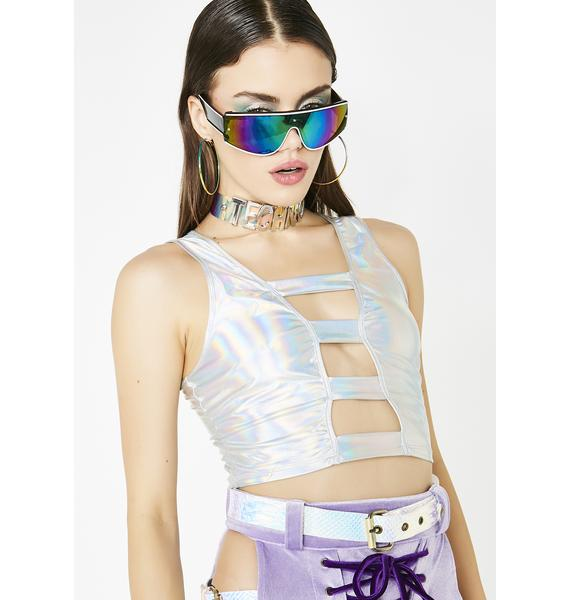 Down To Rave Hologram Top