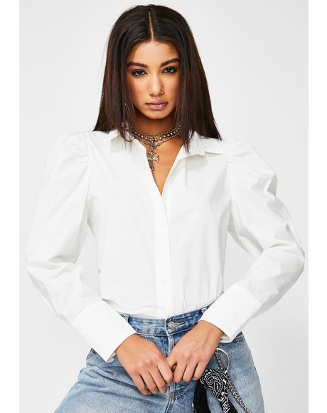 White Puff Sleeve Button Up Shirt