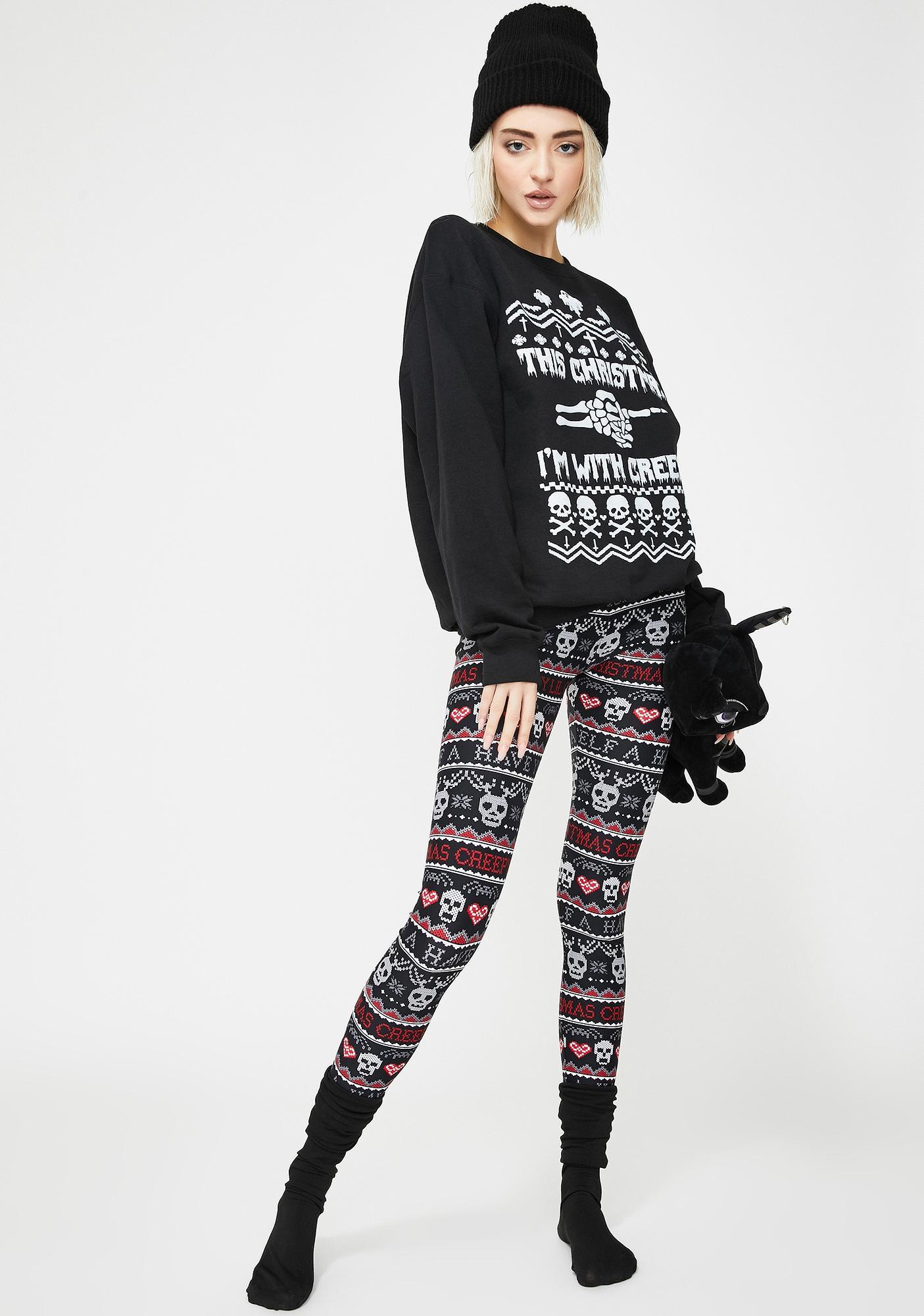 Too Fast Creepy Lil Christmas Knit Leggings