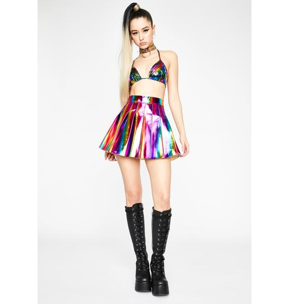 Acid Space Vixen Metallic Skirt