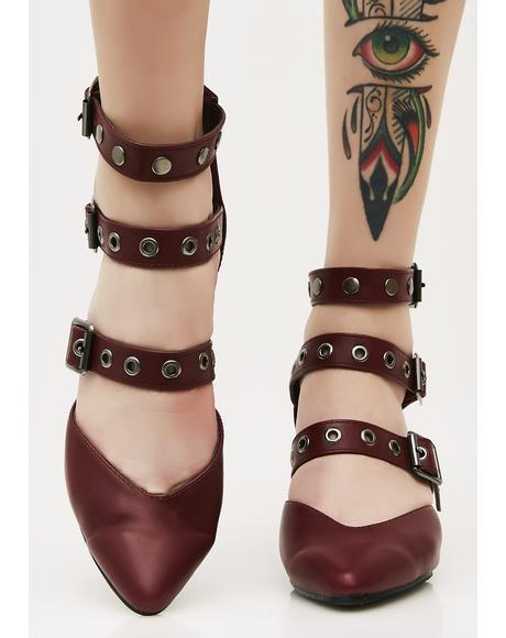 Wine Buckle Up BB Heels