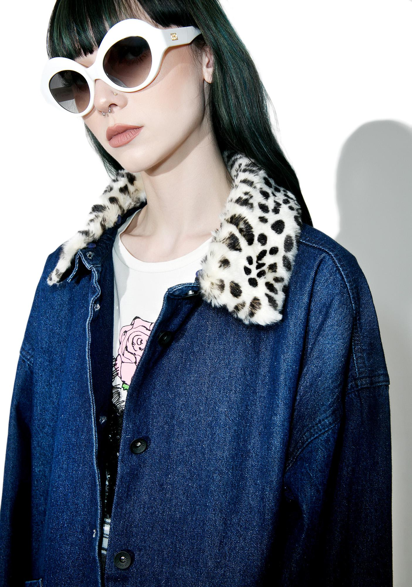 8e46fb968a70a ... Lazy Oaf Leopard Print Denim Jacket ...