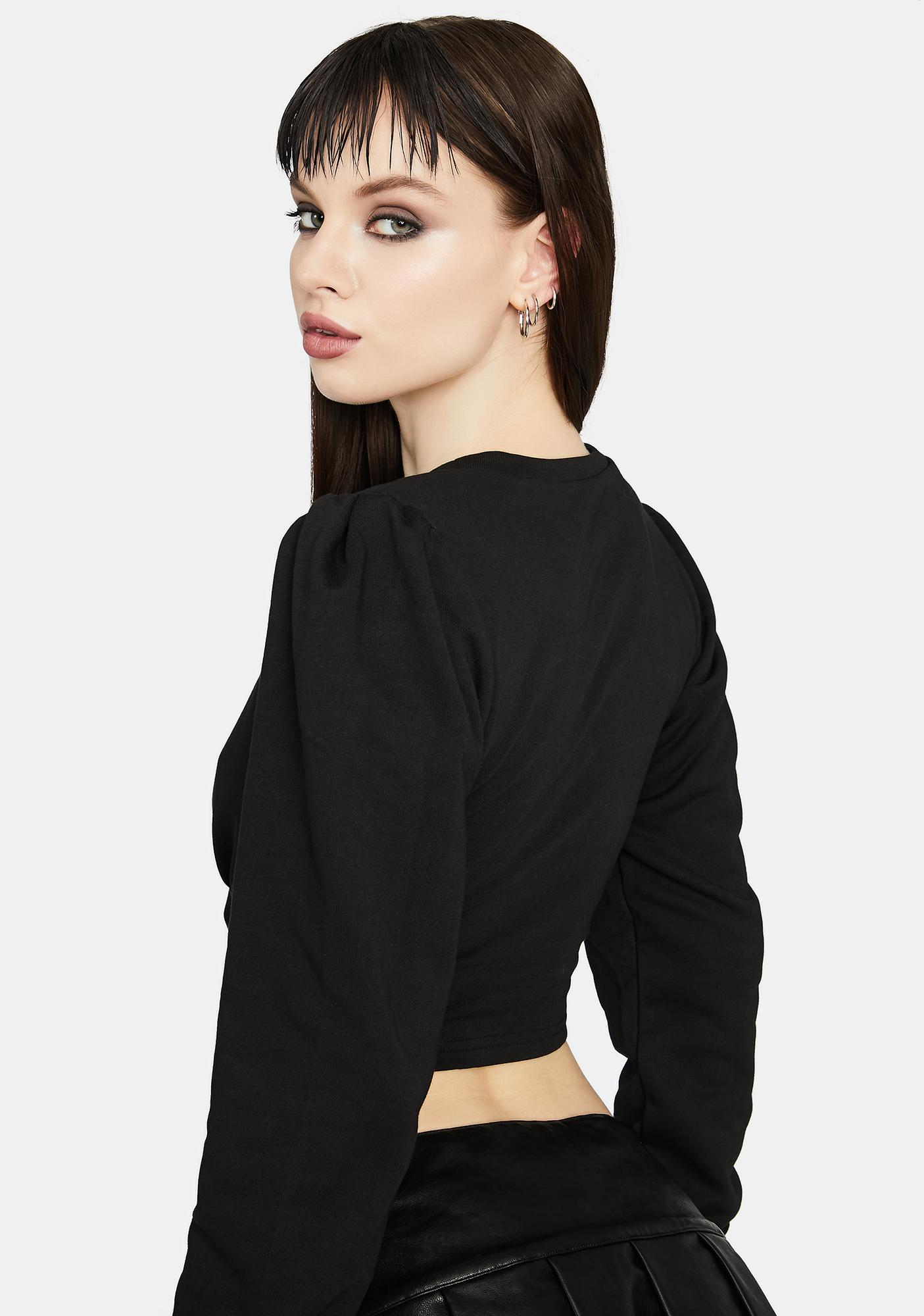 Night Comfy Chic Underbust Crop Sweatshirt