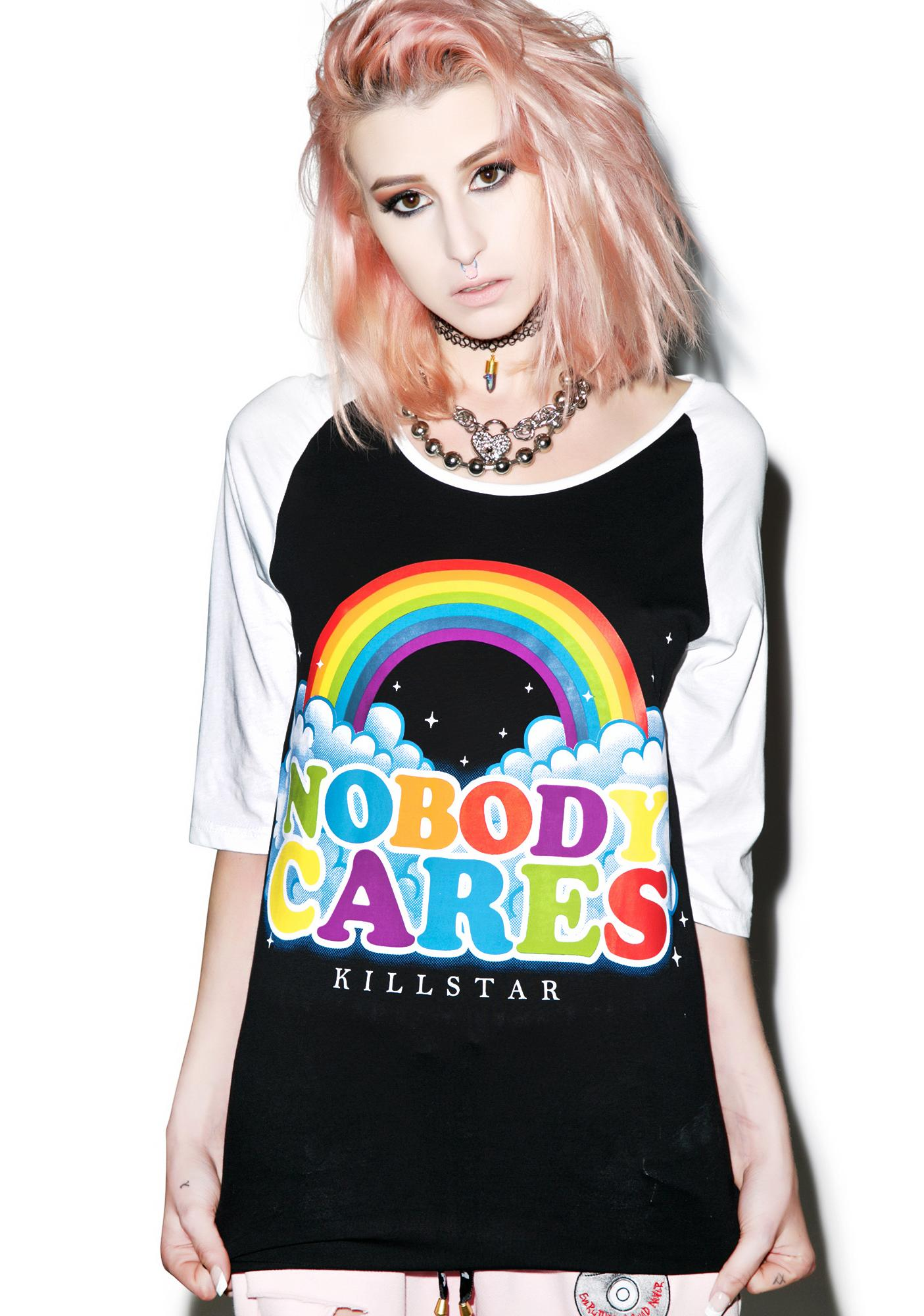 Killstar Nobody Cares Raglan Top
