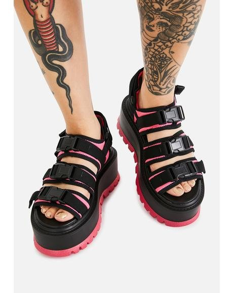 Pink Asteroid Matrix Platform Sandals