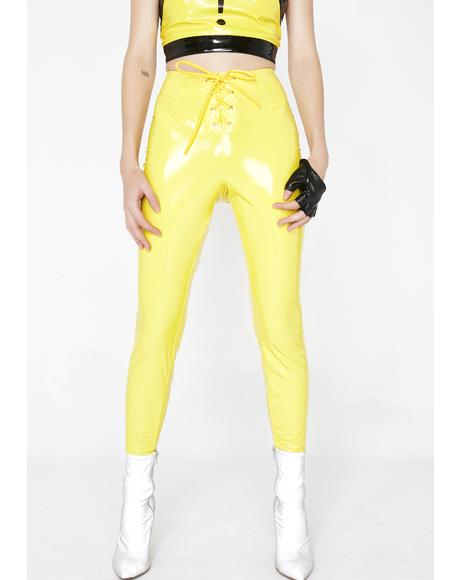 Bee Baddie In The Night Vinyl Leggings