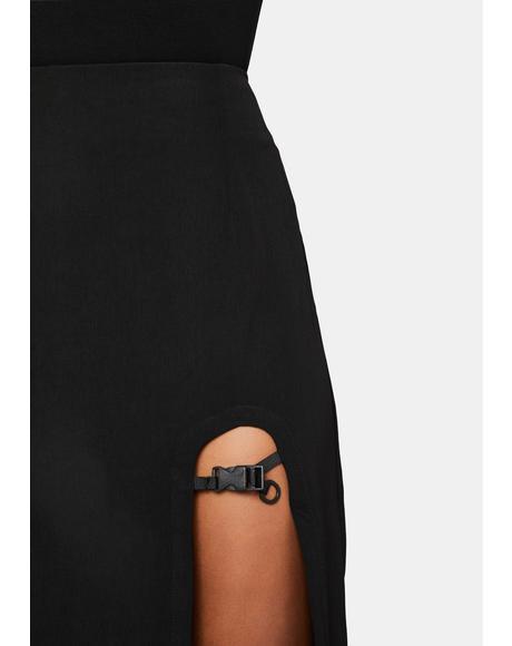 Buckle Slit Midi Skirt
