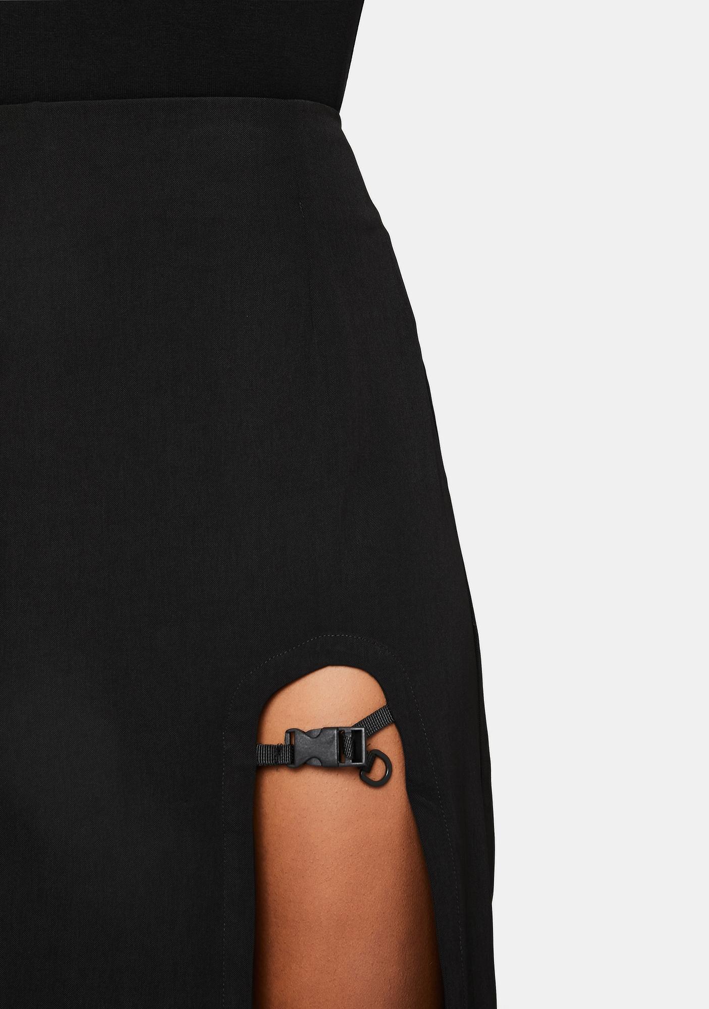 Punk Rave Buckle Slit Midi Skirt