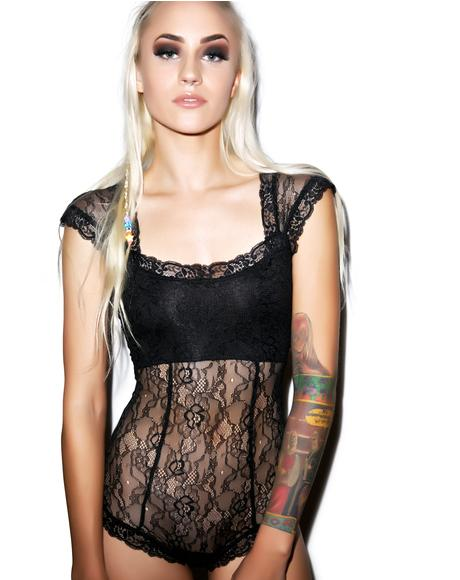 Black Romance Stretch Lace Bodysuit