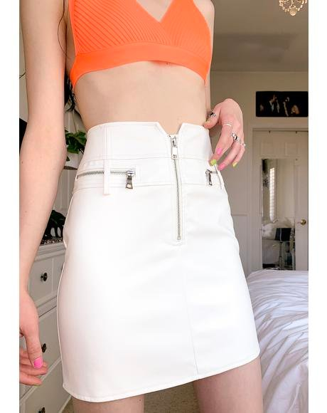 White Lennon Mini Skirt