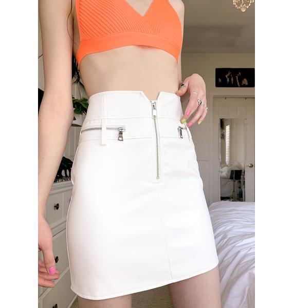 Tiger Mist White Lennon Mini Skirt