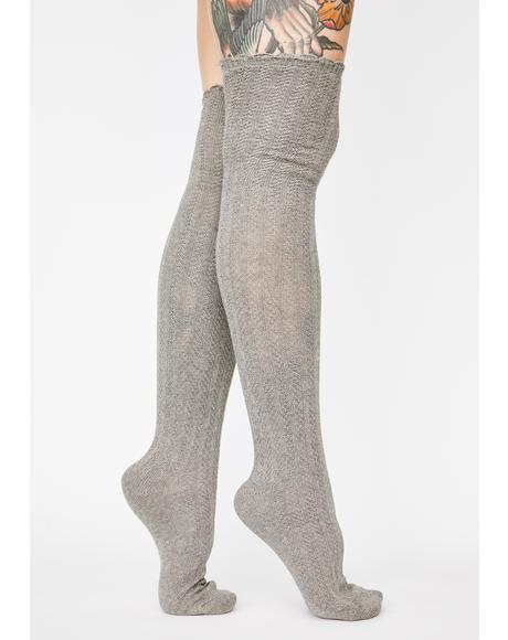 Linear Twist Over The Knee Socks