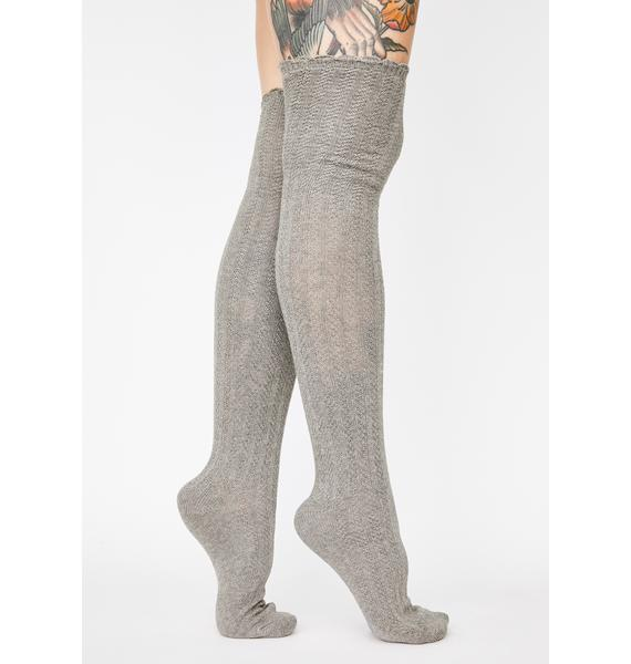 MeMoi Linear Twist Over The Knee Socks