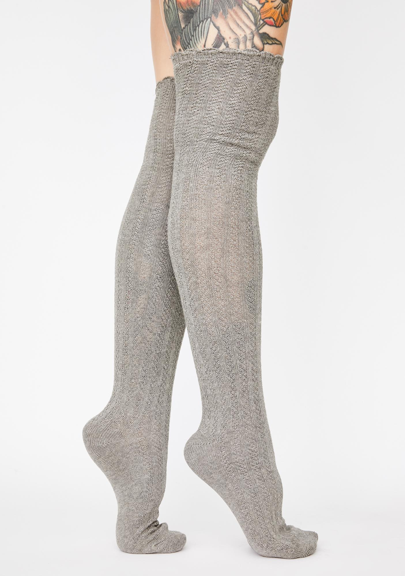 MeMoi Linear Twist Over The Knee Socks
