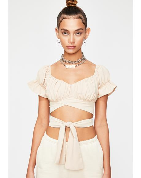 Natural Divine Babe Wrap Crop Top